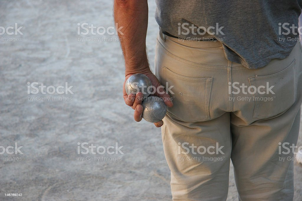 Close Up Of Man Hands Playing Boule , Provence France stock photo