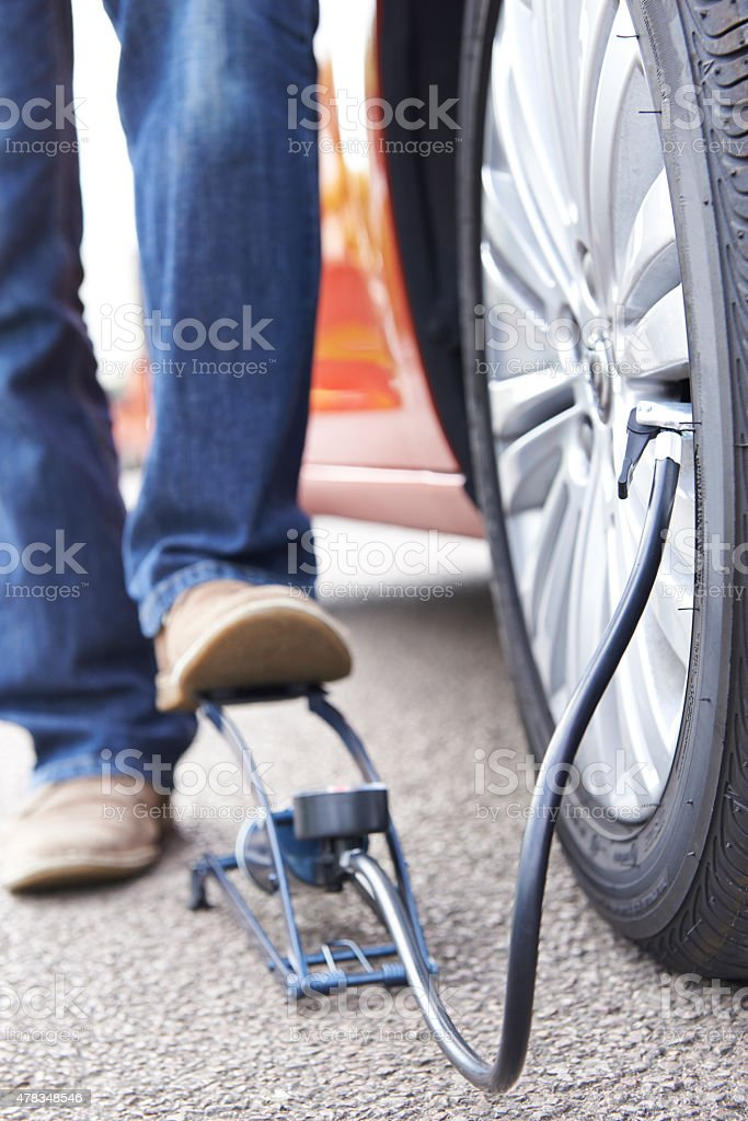 Close Up Of Man Inflating Car Tyre With Foot Pump stock photo