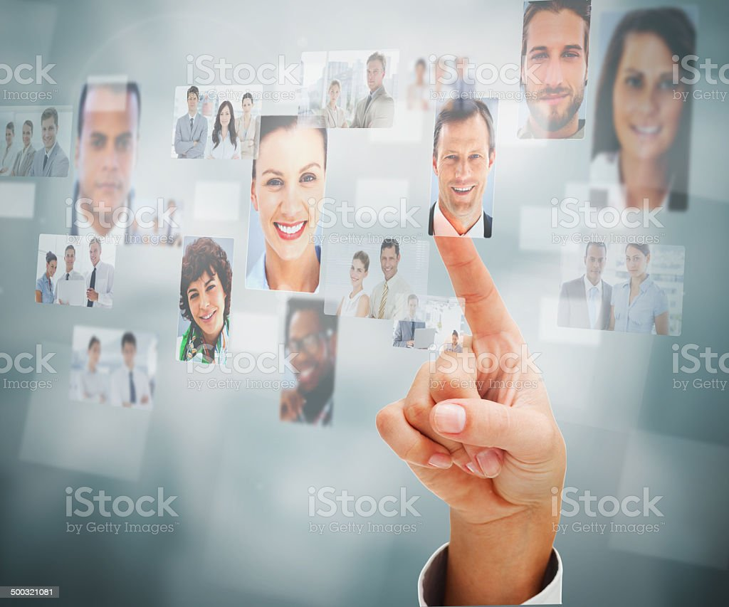 Close up of man selecting a profile picture stock photo