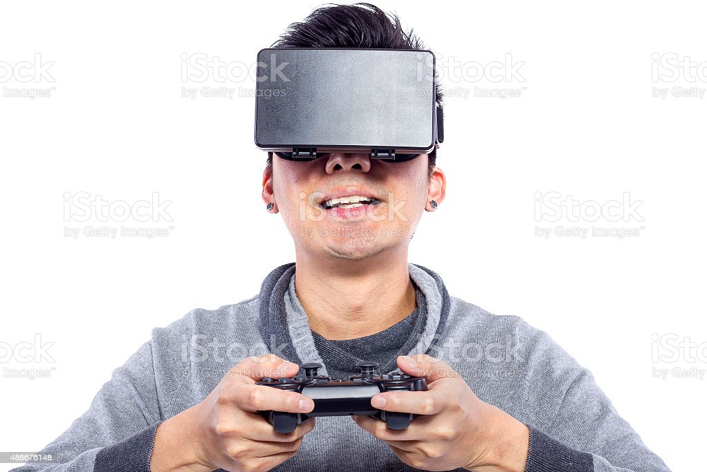 Close Up of Man Wearing VR Goggles stock photo