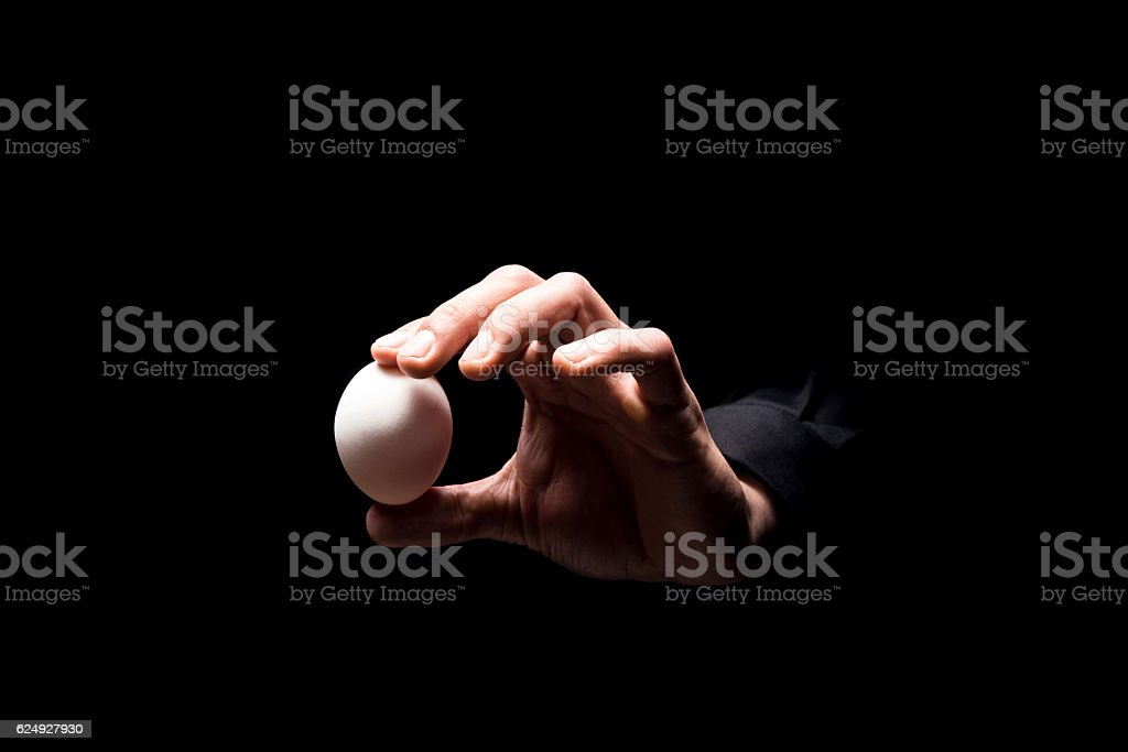 Close up of mans hand holding an egg stock photo