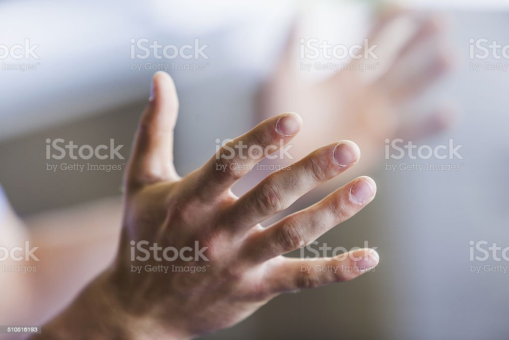 Close up of man's hands stock photo