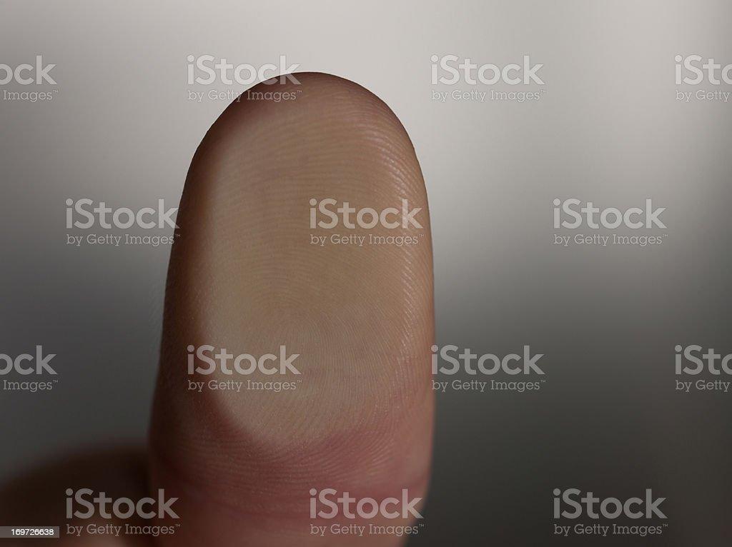 Close up of man's thumb print stock photo
