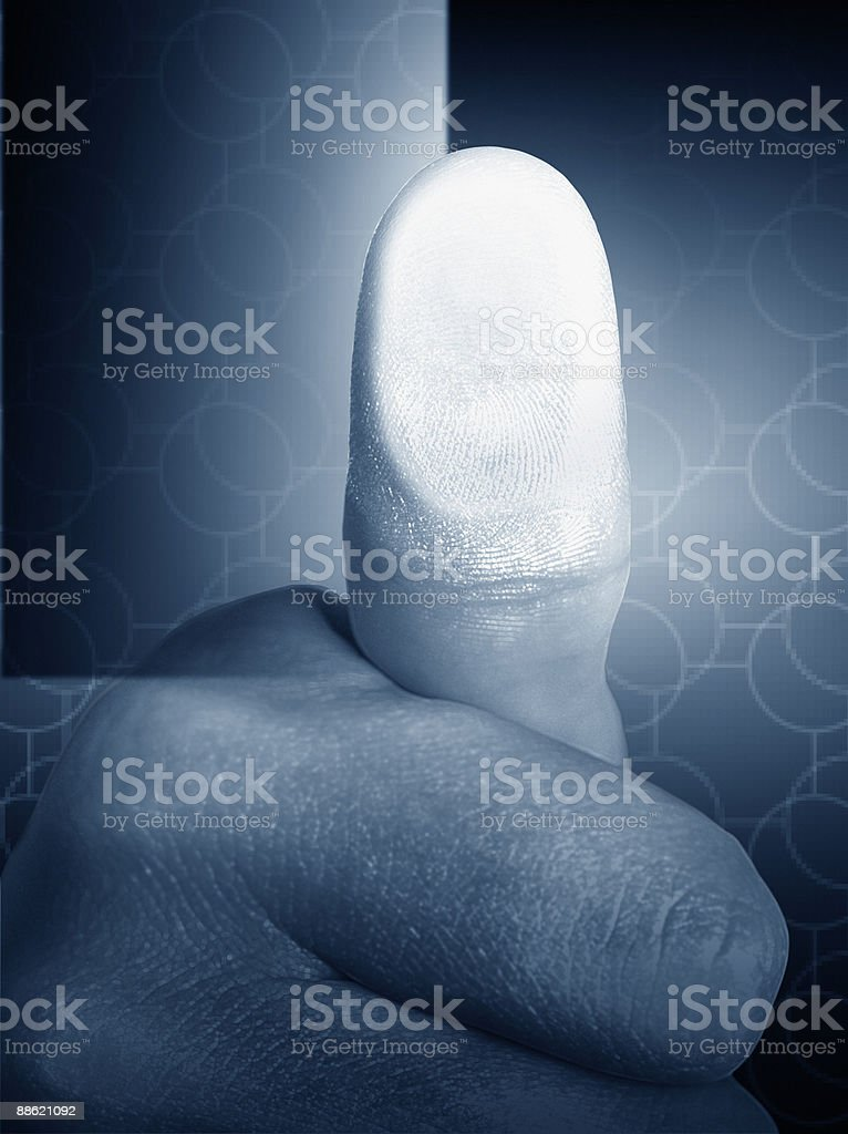 Close up of mans thumb print stock photo