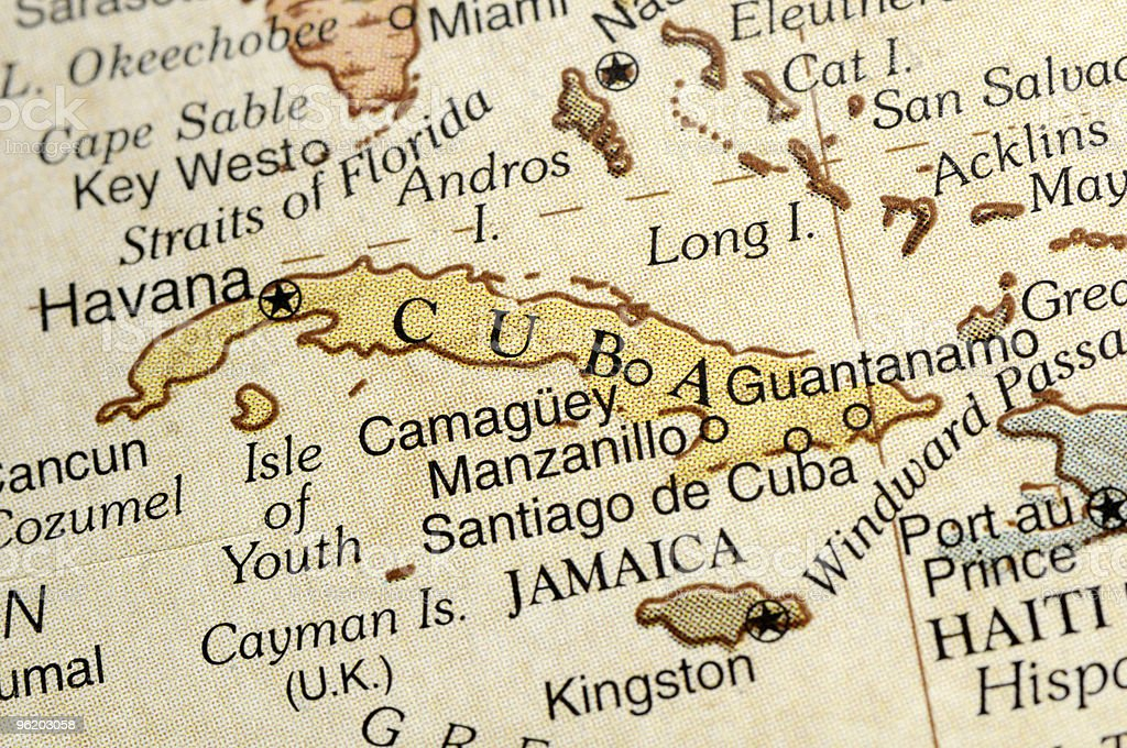 Close up of map of Cuba and surrounding areas stock photo