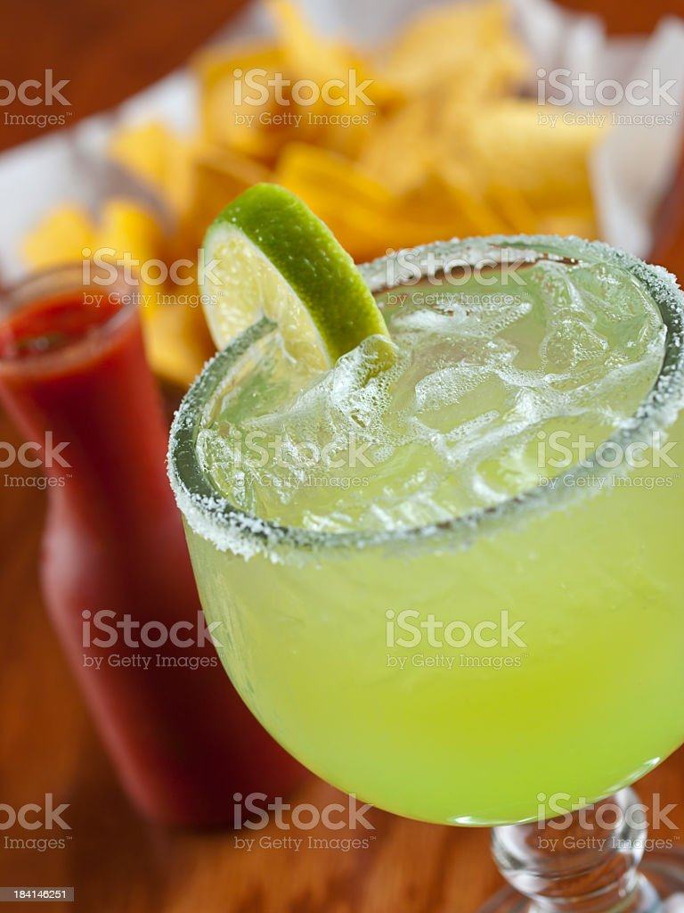 Close up of margarita with chips and salsa stock photo