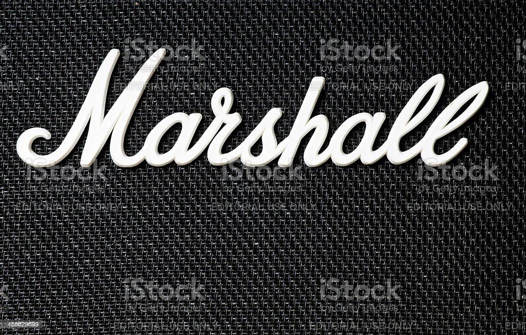 Close -Up Of Marshall Amplifier Logo stock photo