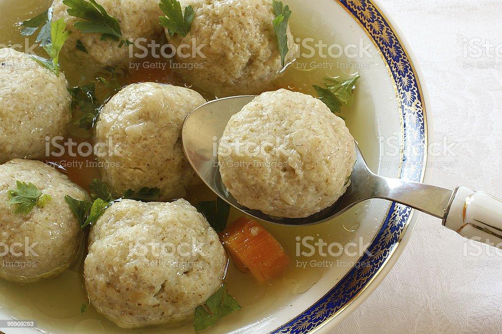 Close up of Matzo (Matzah) balls soup stock photo