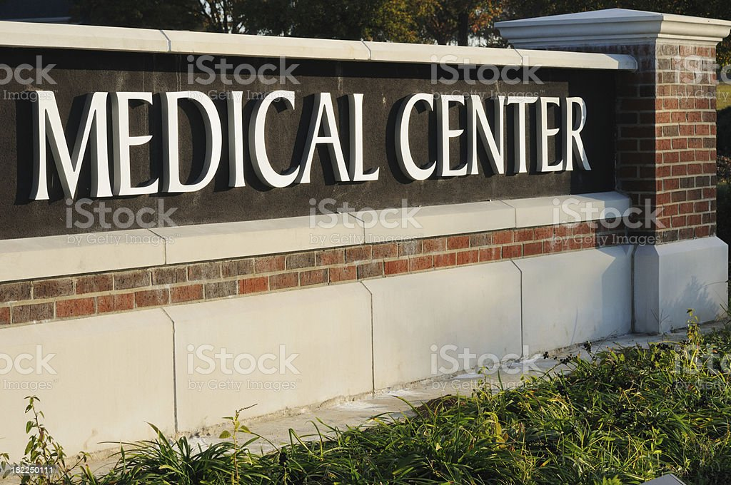 Close up of medical center sign stock photo