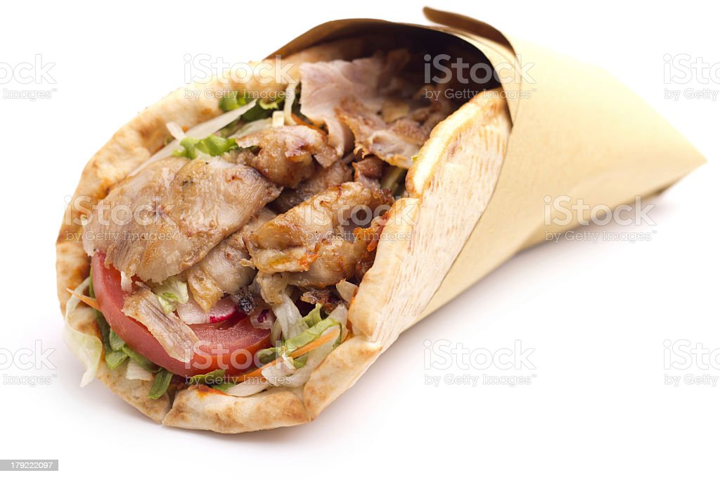 Close up of Mediterranean style kebab sandwich stock photo