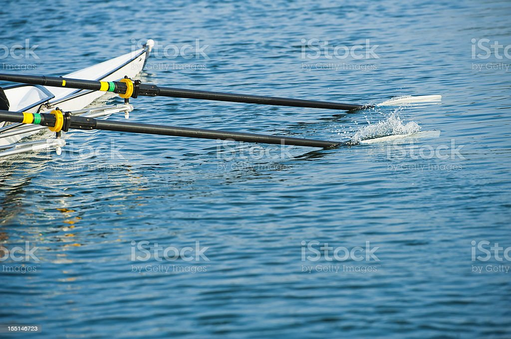 Close up of men's rowing oars stock photo
