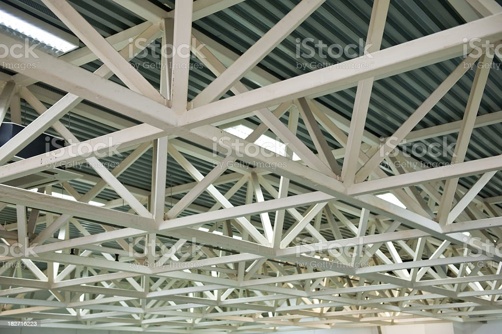 A close up of metal bars on a roof ceiling stock photo