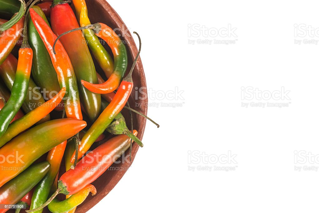 Close up of Mexican hot peppers stock photo