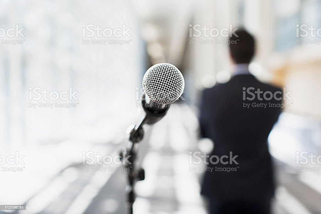 Close up of microphone in office royalty-free stock photo