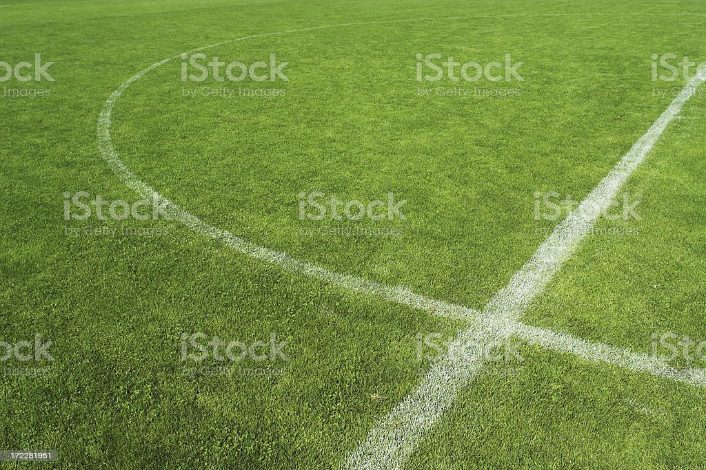 Close up of middle part of soccer grass field royalty-free stock photo