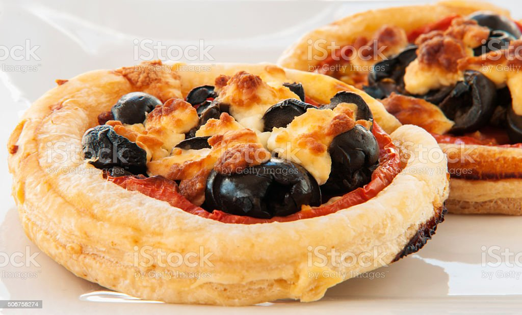 Close up of mini pizzas stock photo