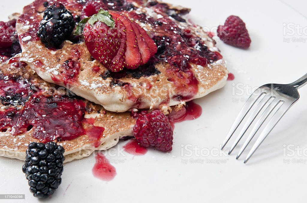 Close up of mixed berry pancakes stock photo
