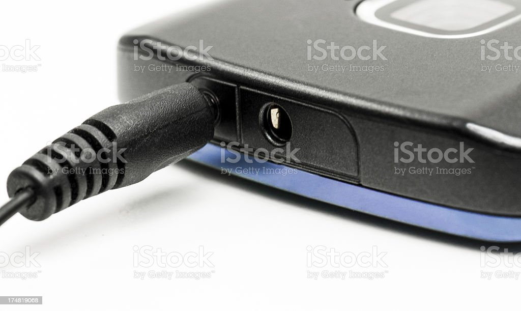 Close Up Of Mobile Phone Charging Port And Charger stock photo