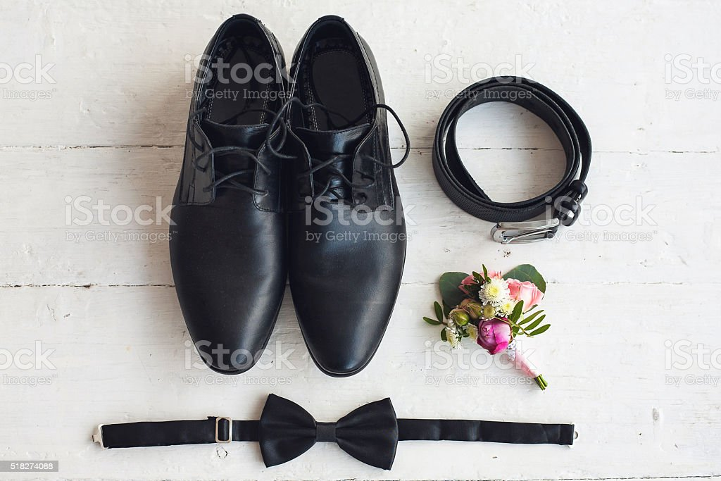 Close up of modern man accessories stock photo