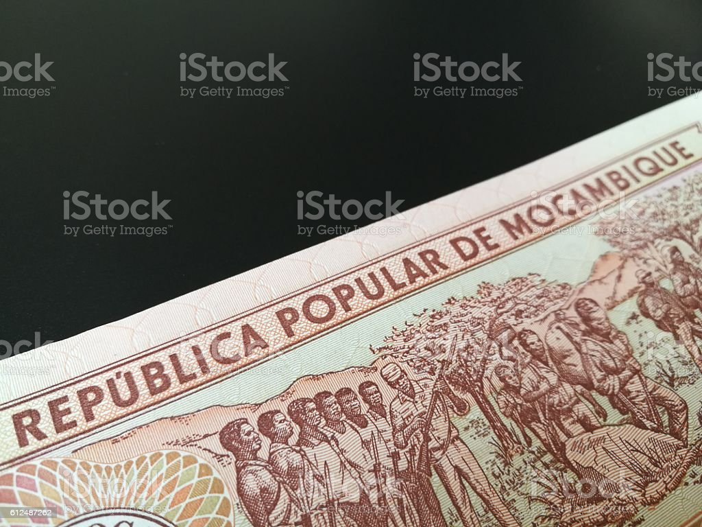 Close up of Mozambican Metical stock photo
