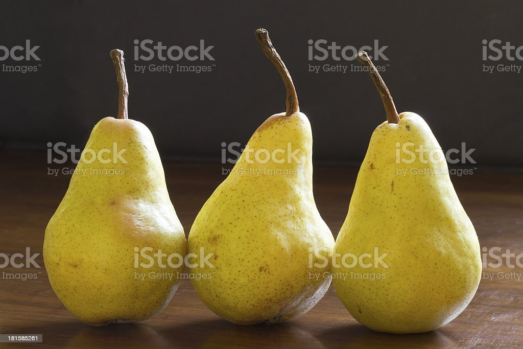Close up of natural looking pears royalty-free stock photo