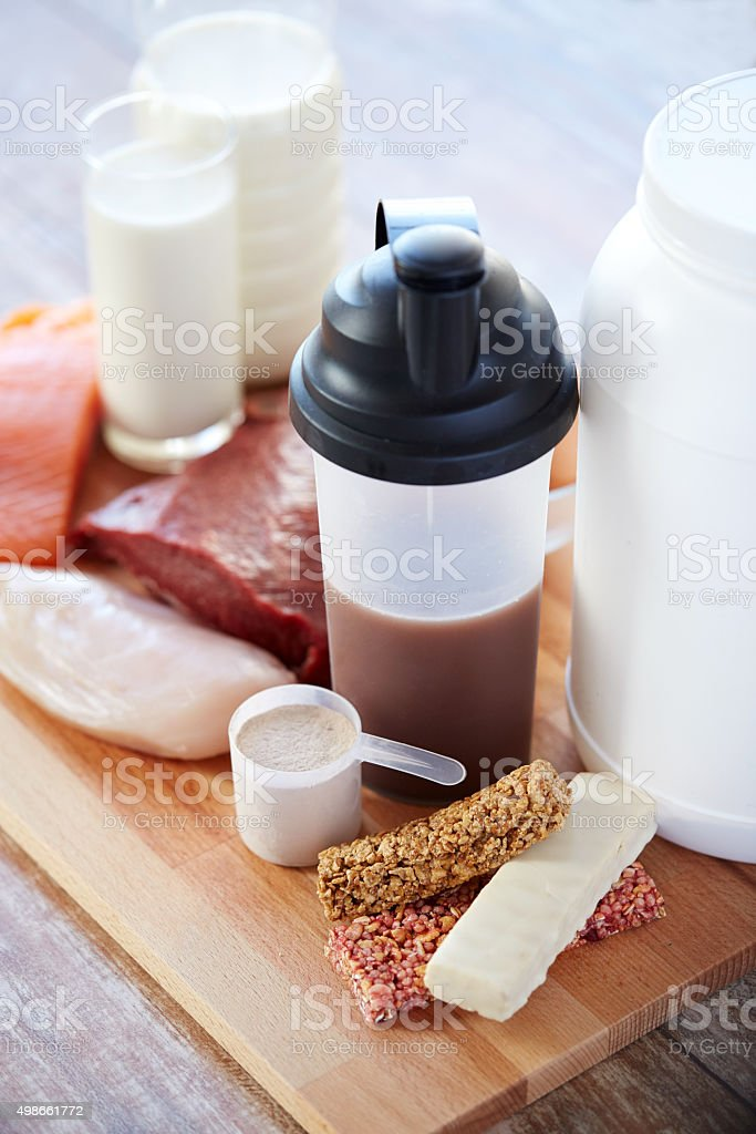 close up of natural protein food and additive stock photo
