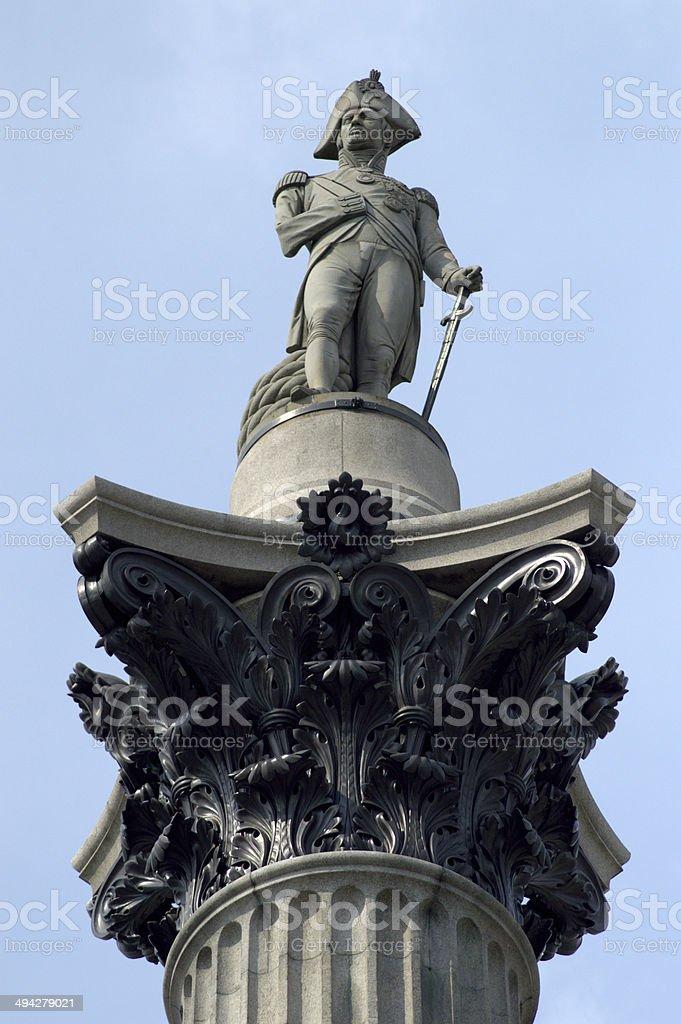 Close up of Nelson's Column, Trafalgar Square. London stock photo