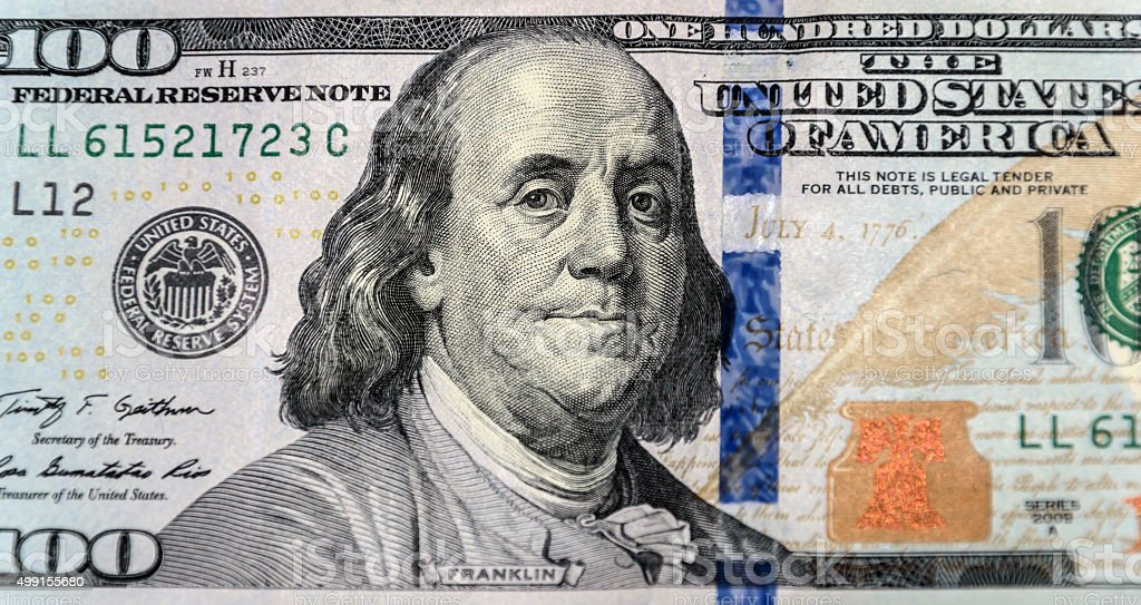 Close up of new one hundred dollar bill stock photo