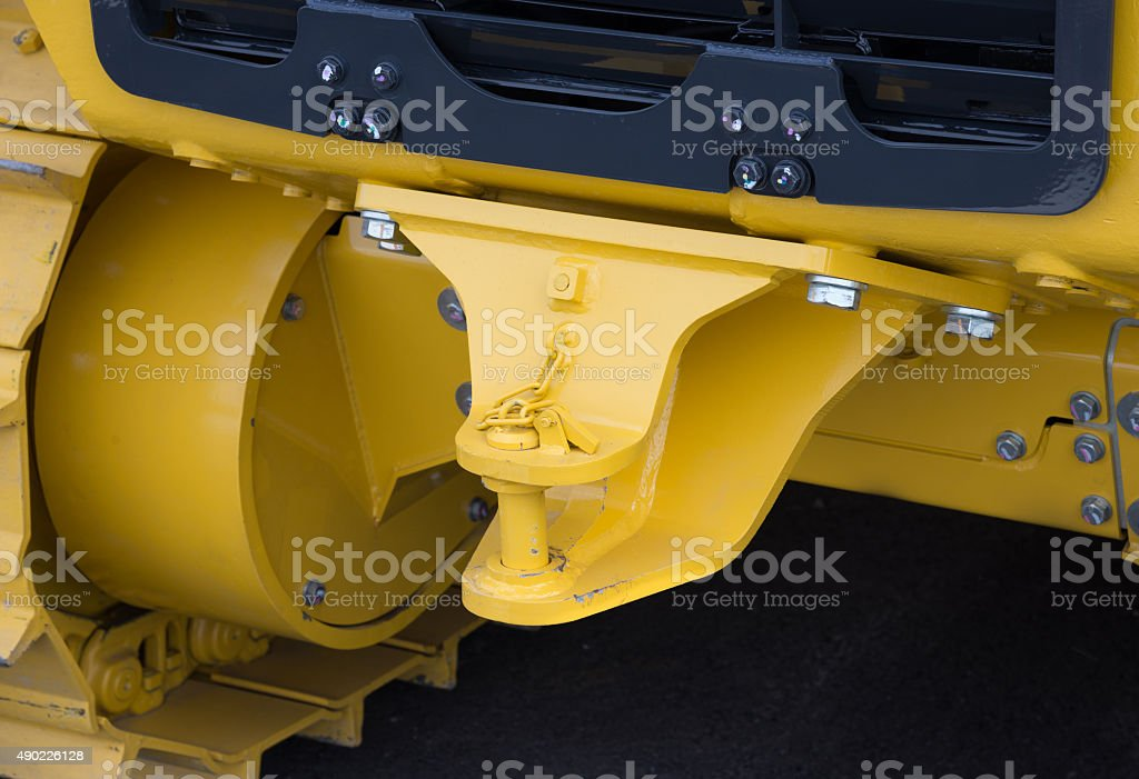 Close up of new tractor hitch with tow bar stock photo