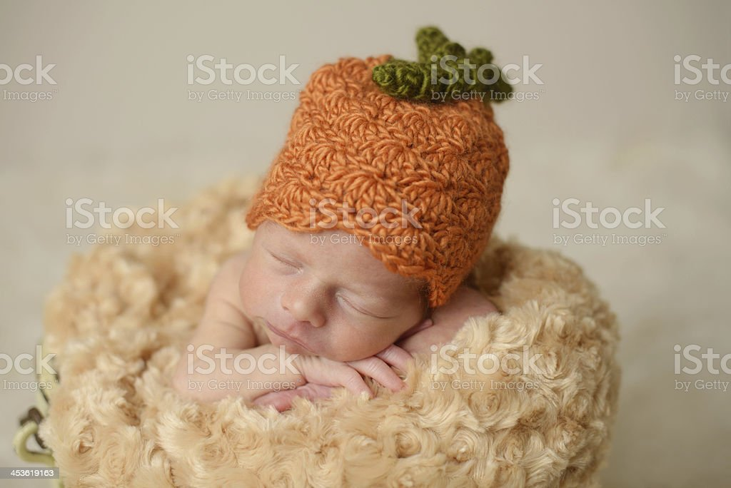 Close Up of Newborn Sleeping in a Knit Hat royalty-free stock photo