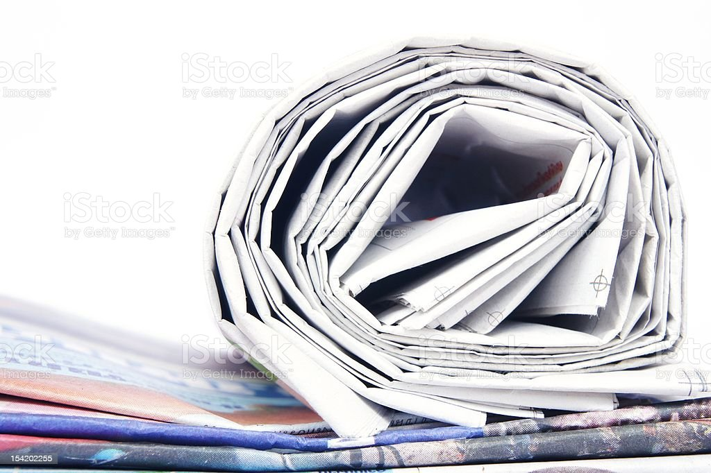 Close up of Newspapers royalty-free stock photo