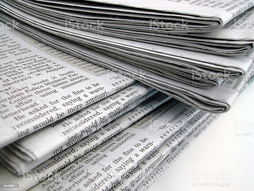 Close up of Newspapers stock photo