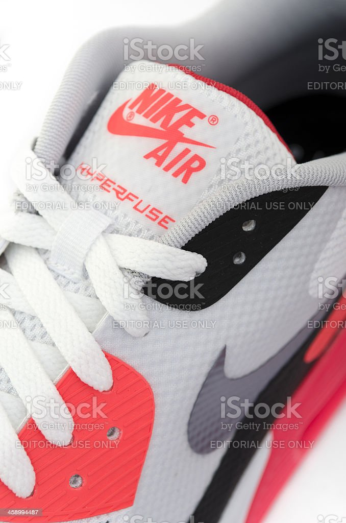 Close up of Nike Air logo on trainer tongue royalty-free stock photo