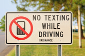 Close up of no texting while driving sign