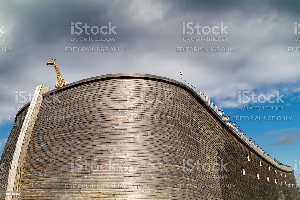 Close up of Noah's Ark and giraffe stock photo