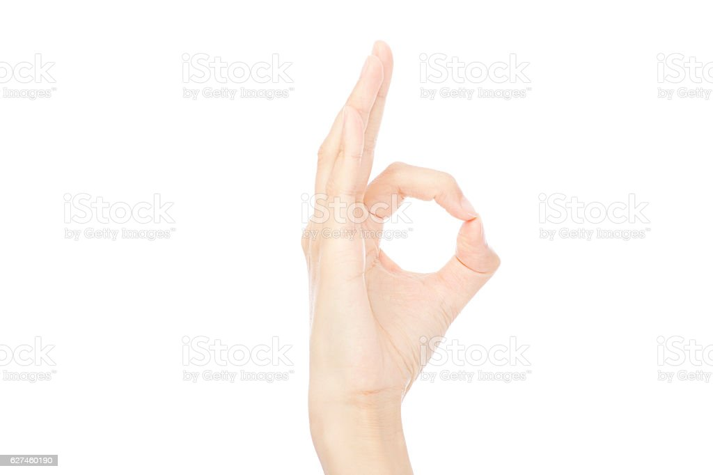 close up of OK gesture stock photo