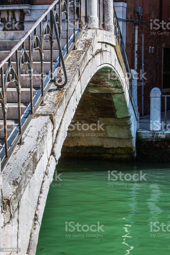 Close up of Old and White Marble Bridge in Venice, Italy stock photo