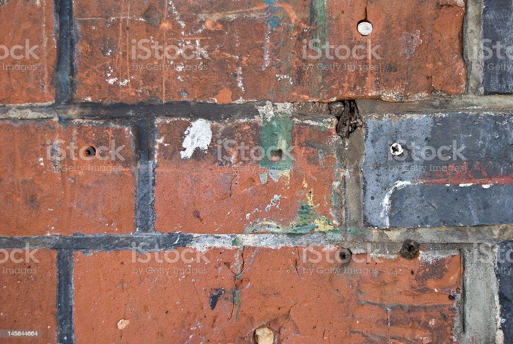 Close-up da velha parede de tijolos foto royalty-free