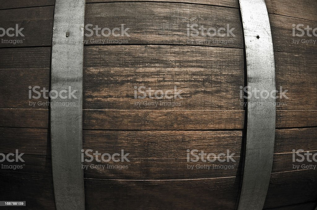 Close up of old oak timber and metal sheeting on wine barrel stock photo