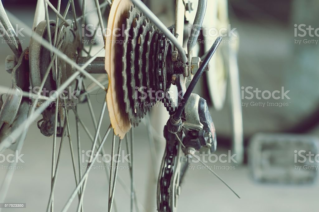 Close up of old part bicycle retro style stock photo