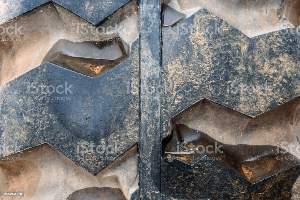 Close up of old tire tread texture. stock photo