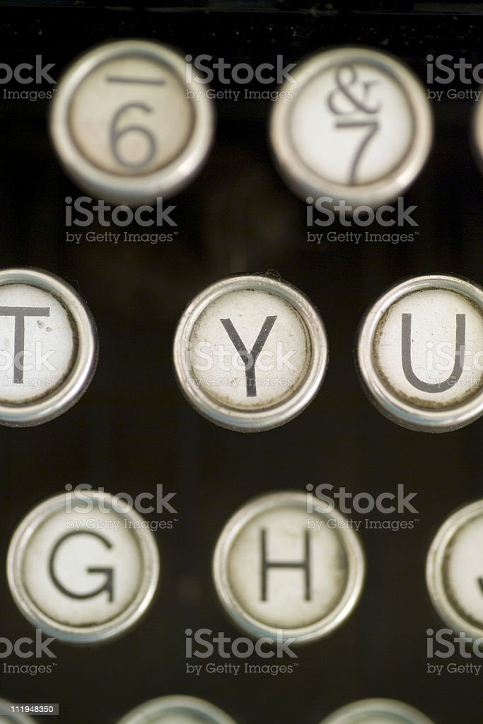 Close up of old typewriter keys royalty-free stock photo