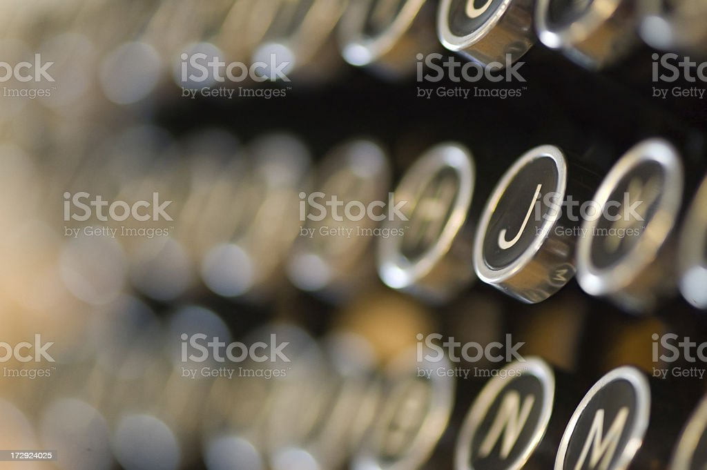 Close up of old typing machine stock photo