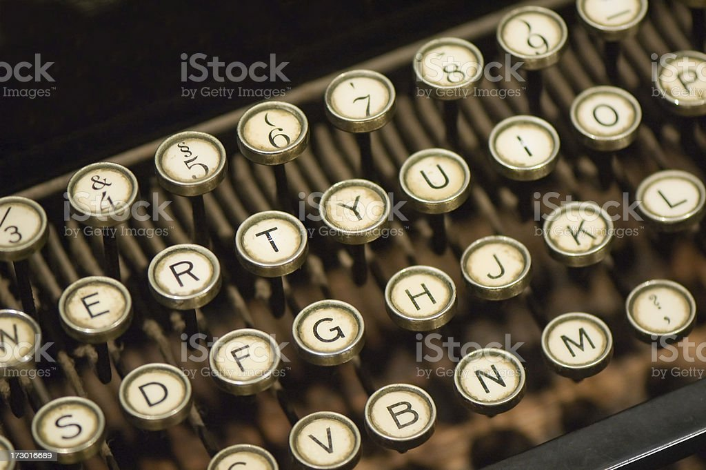 Close up of old typing machine royalty-free stock photo