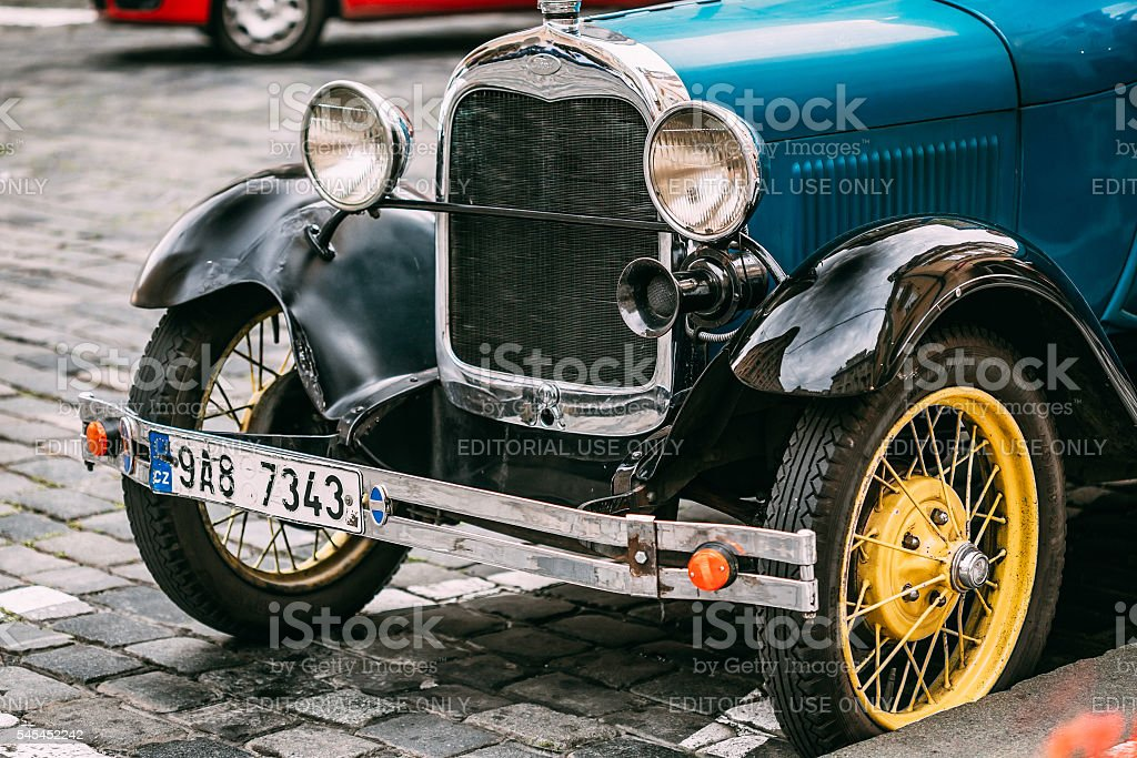 Close up of old vintage blue car Ford A stock photo