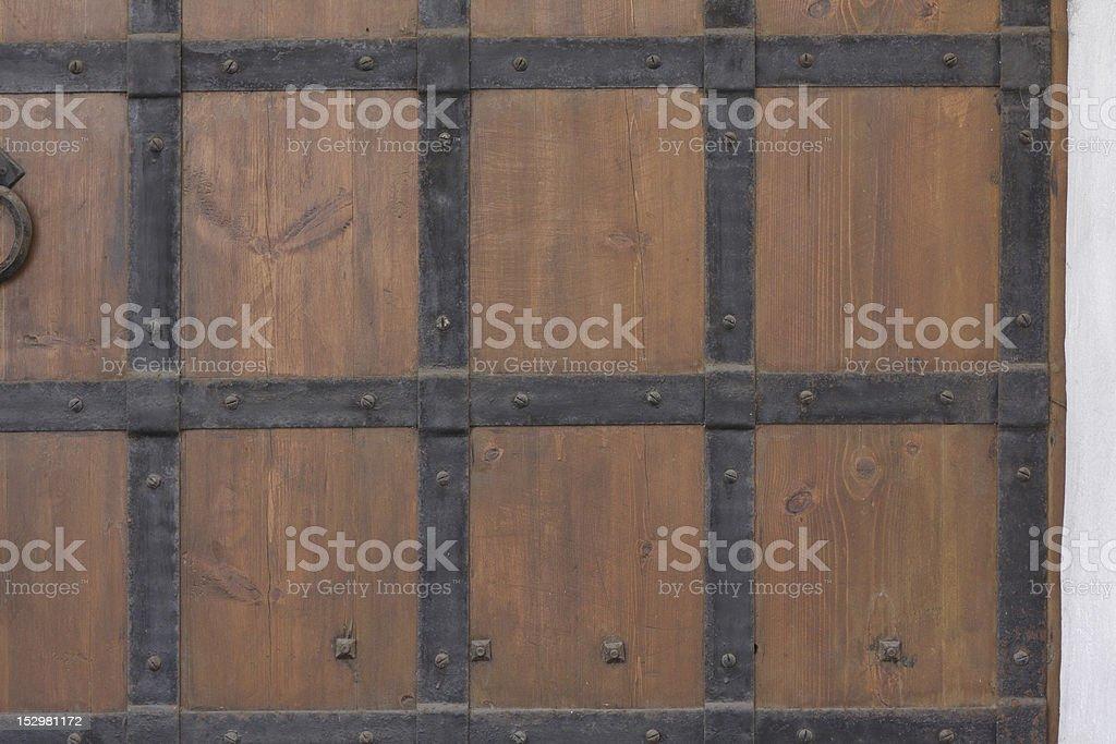 close up of old wooden door stock photo
