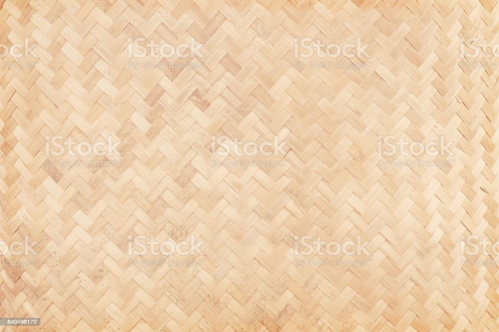 Close up of old woven bamboo in natural patterns, handmade weave...