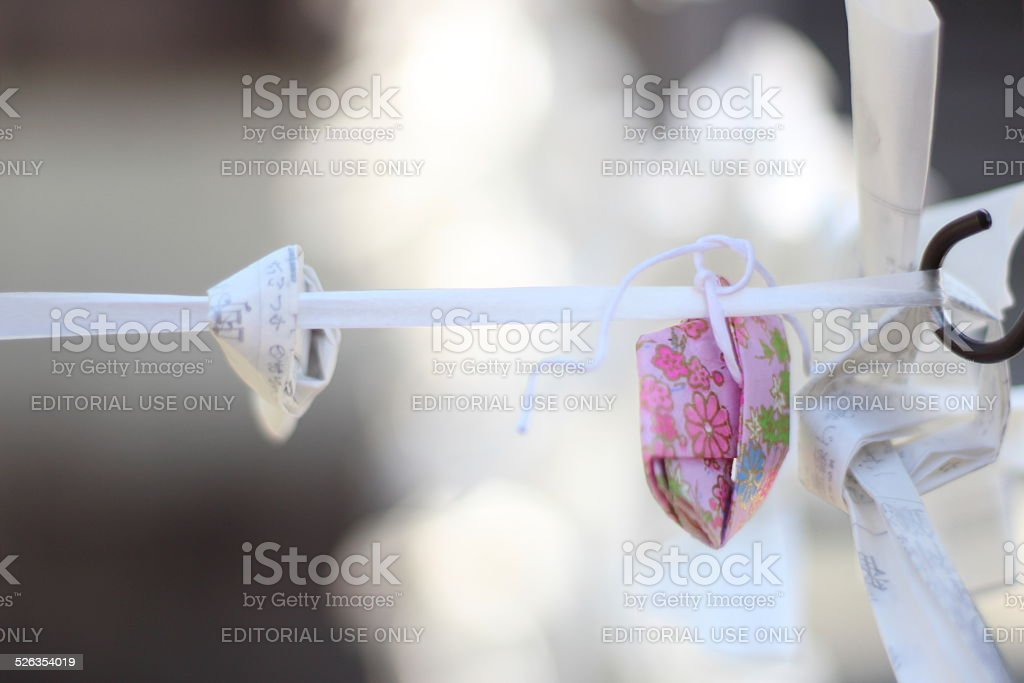 Close up of Omikuji (Fortune Paper), Kyoto, Japan stock photo