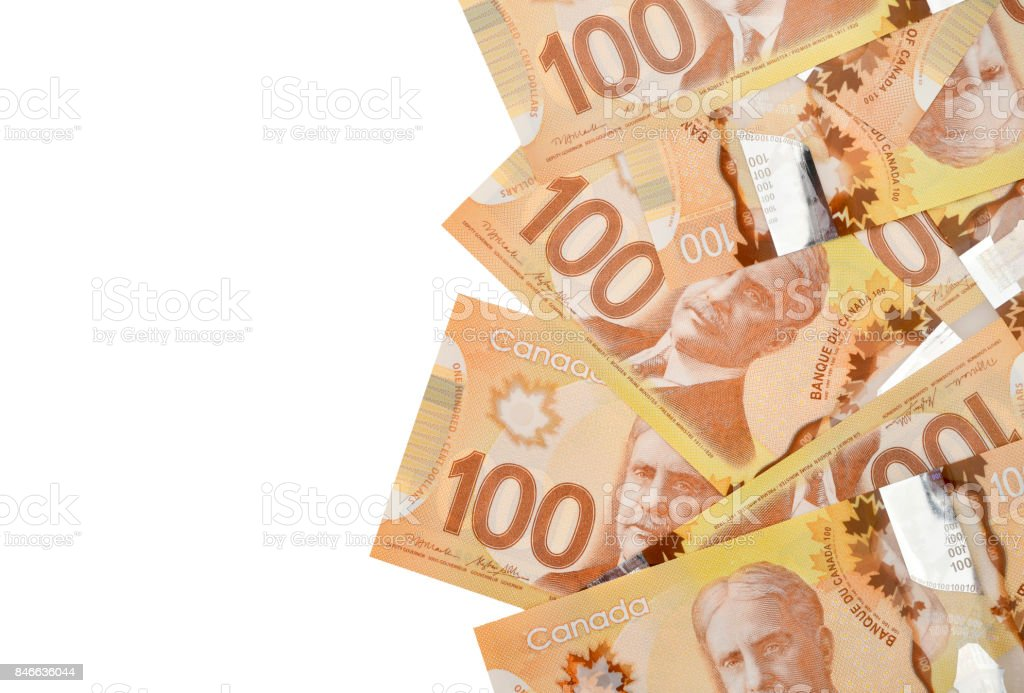 Close up of one hundred dollar bills stock photo