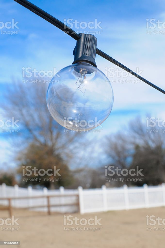 Close up of one string light bulb stock photo